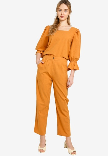 Lubna brown Square Neck Bell Sleeve Top With Pants ED9B0AA73A7DE5GS_1