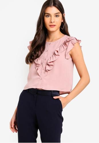 ZALORA pink Sleeveless Ruffles Blouse 914C1AA1DF3C05GS_1
