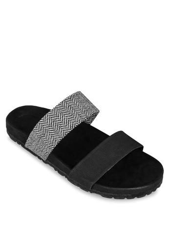 印花寬帶涼鞋, zalora 男鞋 評價女鞋, 鞋
