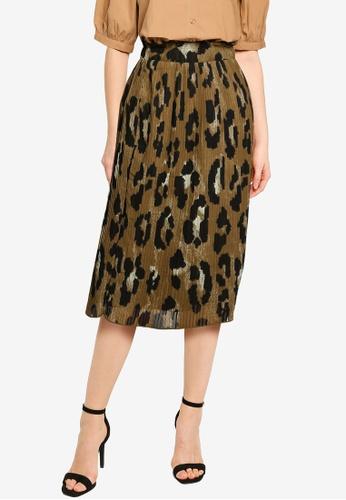 Vero Moda brown Greeta High Waist Pleat Skirt 86AFDAAB703404GS_1