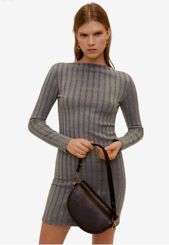 Mango grey Ribbed Midi Dress C38A9AAB446BABGS_1