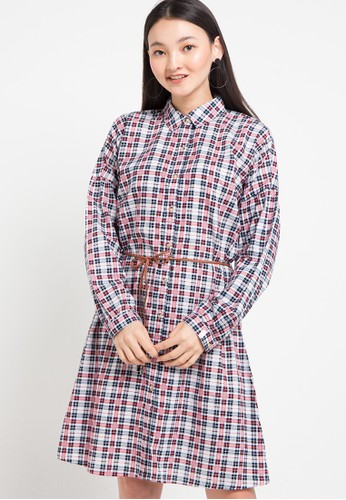 SIMPLICITY red Checked Shirt Dress 2A701AA85C967FGS_1