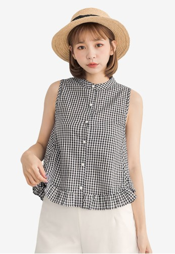 Tokichoi black Pearl Button Ruffle Hem Top 34E26AA9E3782DGS_1
