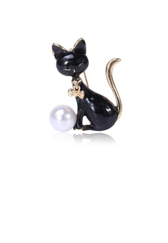 Glamorousky white Simple and Cute Black Cat Imitation Pearl Brooch 445EFAC11ACABFGS_1
