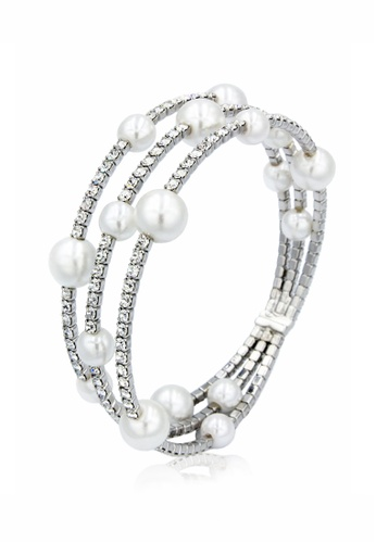 SO SEOUL white and silver Quinn Pearl in Cream Open End Bangle 2401CAC156630CGS_1