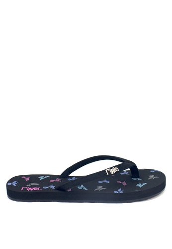 Ripples black and multi Hummingbirds Flip Flops RI425SH73OXASG_1