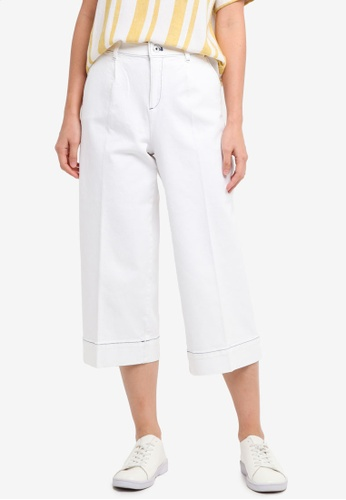 ESPRIT white Woven Cropped Pants 2A731AA4D5F1D0GS_1