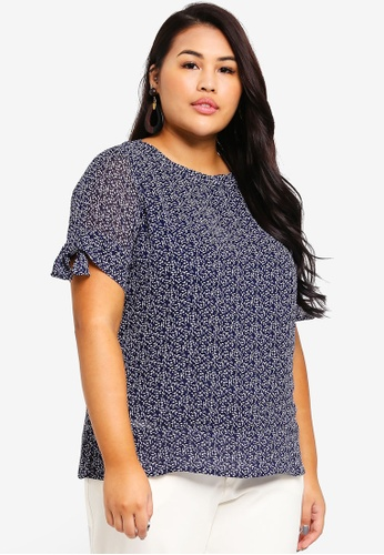 Ex'otico navy Plus Size Short Sleeve Printed Blouse E2BB8AAF6C22A2GS_1
