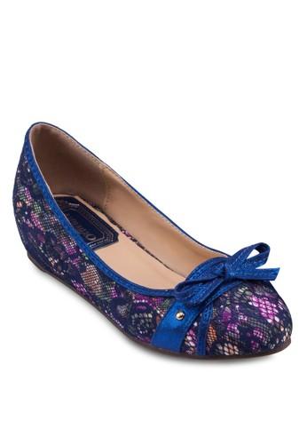 蝴蝶結印花zalora 心得內增高娃娃鞋, 女鞋, 鞋
