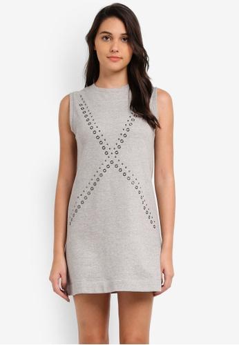 Something Borrowed grey Studded Jersey Dress CDB65ZZF6F3E3DGS_1
