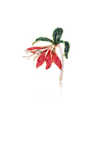 Glamorousky red Elegant and Simple Plated Gold Flower Brooch with Cubic Zirconia 5354FAC06B98C9GS_1