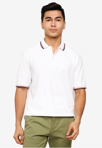 UniqTee 白色 條紋滾邊POLO衫 0824DAAD86A0C4GS_1