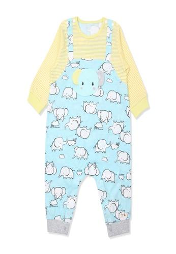 Organic mom blue Organic Cotton Webber Elephant Swaddle Gown D8A5FKAC2D222CGS_1