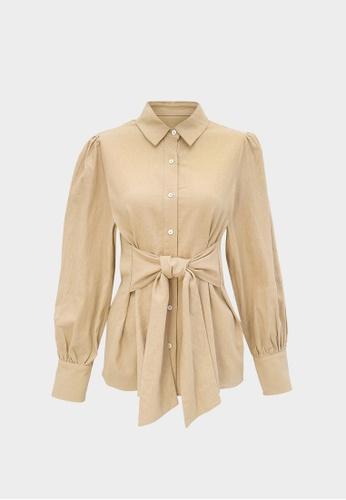 Pomelo beige Purpose Front Tie Button Up Shirt - Beige D0AD9AAD7F2488GS_1
