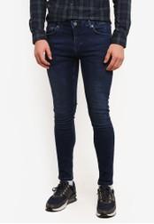 Topman blue Dark Blue Wash Spray On Jeans TO413AA0SC1SMY_1