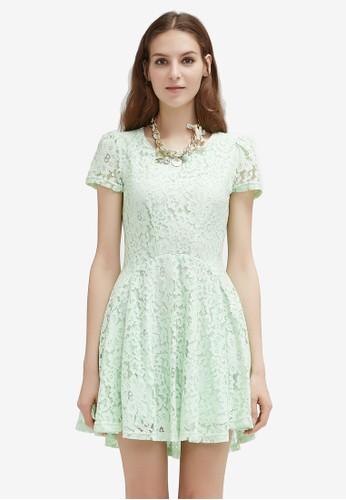 Hopeshow green Lace Cap Sleeve Dress F9BE6AA691D2F0GS_1
