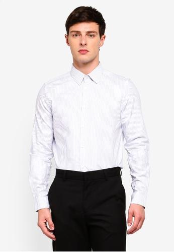 Burton Menswear London 藍色 修身條紋襯衫 C89EFAADDFD4B5GS_1