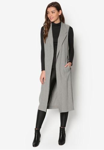 大翻領暗紋長版無袖外套、 服飾、 外套TOPSHOP大翻領暗紋長版無袖外套最新折價