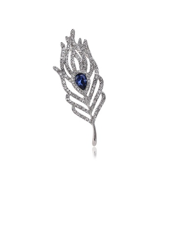 Glamorousky white Fashion and Elegant Feather Brooch with Blue Cubic Zirconia 58039AC1D75920GS_1