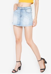 Chase Fashion blue Denim Faded Stretchable Skort 178D0AA42AFC03GS_1