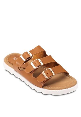 zalora開箱三重針扣帶休閒涼鞋, 女鞋, 涼鞋