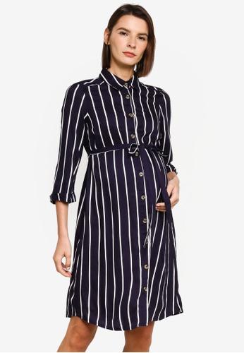 Mama.licious navy Nursing Sinem Lia 3/4 Woven Dress 34B1FAAD6E6BB5GS_1
