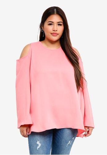 CURVA FABULOUS pink Ms Zairina Cold Shoulder Top FAF6EAA5B1CD05GS_1