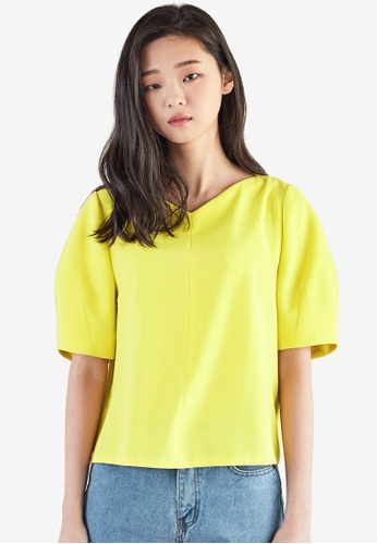 NAIN yellow Structured Blouse 69218AA59CB13BGS_1