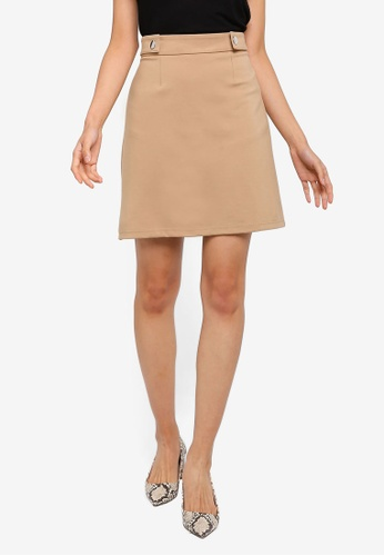 Dorothy Perkins beige Stone Popper Mini Skirt AB5FAAA5E0484BGS_1