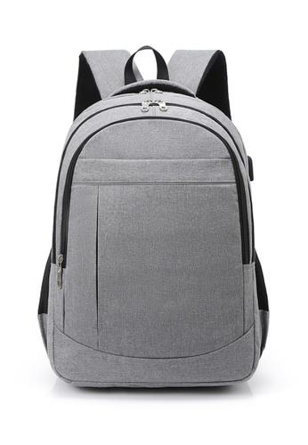 Lara 灰色 男士韓式戶外運動筆記本電腦背包 - 灰色 DA4FBACCD09EBCGS_1