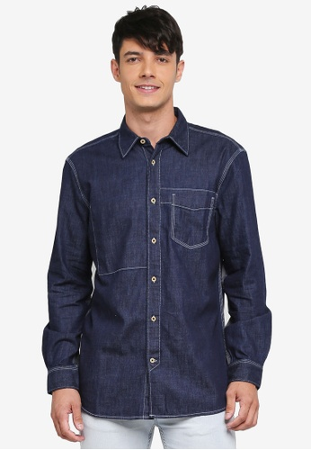 French Connection blue Core Denim Shirt ADADDAA8DC922FGS_1