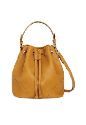 LULUGIFT yellow Lulugift TSAR Sylish PU Leather Yellow Bucket Sling Bag LU989AC15RBWMY_1