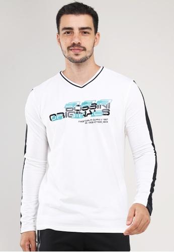 Bossini Men white V Neck Crazylines Longsleeves T-Shirt 27040AAE7CB565GS_1