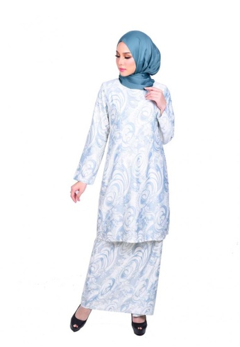 Auliya Kurung Modern from KAMDAR in Grey and Blue