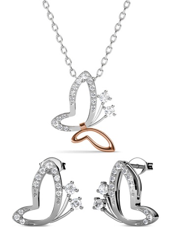 Her Jewellery silver Swarovski® Crystals - Butterfly Wings Set (18K White Gold & Rose Gold Plated) Her Jewellery HE581AC81JZMMY_1
