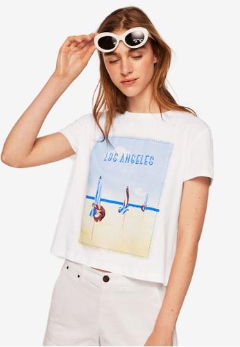 Mango white Los Angeles T-Shirt 85B3CAAD1DE6E9GS_1
