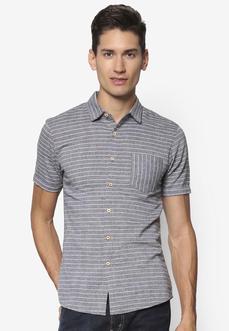 Horizontal Chevron Stripe Short Sleeve Shirt