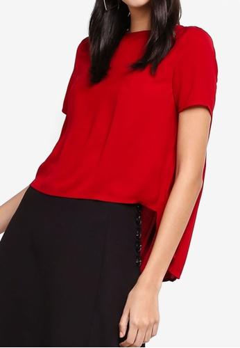 ZALORA 紅色 褶飾後上衣 42A80AAA80CC81GS_1