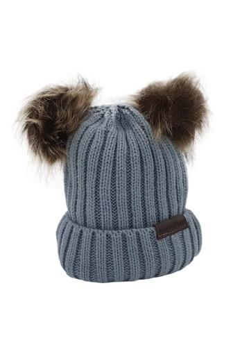 Akarana Baby grey and brown Baby Beanie Double Faux Fur Pom-Pom (Grey) 6993AKCB8A98E1GS_1