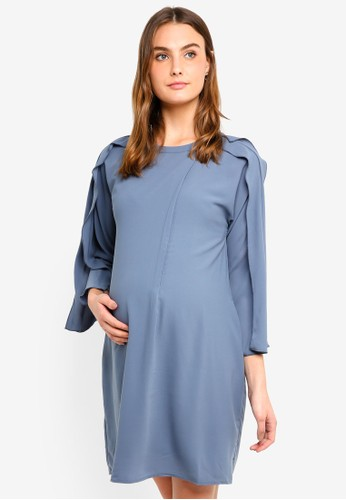 Spring Maternity grey Maternity Kimono Long Sleeves Ciara Dress 73EF7AA80DAA45GS_1