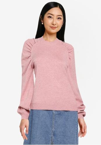JACQUELINE DE YONG pink Kourtney Puff Sleeve Knit Sweatshirt 9D7E3AA6FC1096GS_1