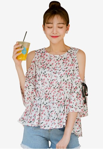Tokichoi white Floral Open Shoulder Top F488EAAD69EB39GS_1