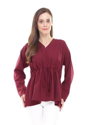 Rina Nichie Basic red Melly Top in Maroon A123AAAE0AD683GS_1
