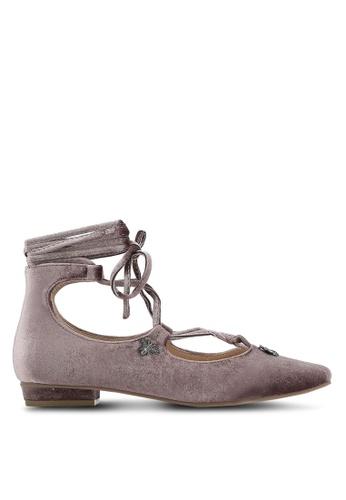 ZALORA pink Velvet Lace Up Flats 7E053ZZD1CE655GS_1