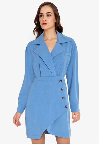 ZALORA WORK blue Asymmetric Blazer Dress D9EC7AA919B9A1GS_1