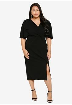 81f4d1c652 LOST INK PLUS black Plus Size Wrap Dress 84910AA6073B97GS_1