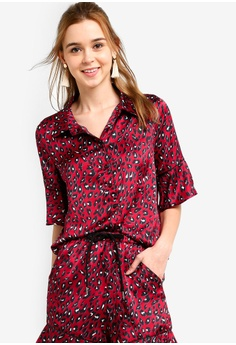 aab72a6bf19 Something Borrowed red Contrast Piping Pajama Shirt 69659AA47FD8D1GS_1