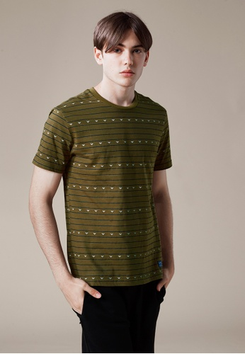Life8 green Casual Stripe Printed Crew Neck Tee In Mediem Weight Cotton-03864-Green LI283AA0FFPDSG_1