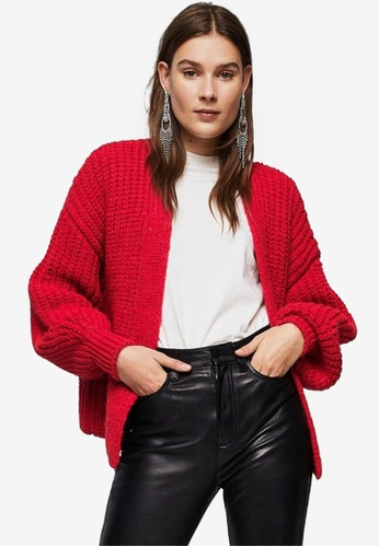 Mango red Chunky Knit Cardigan 70AD2AAC486ACCGS_1