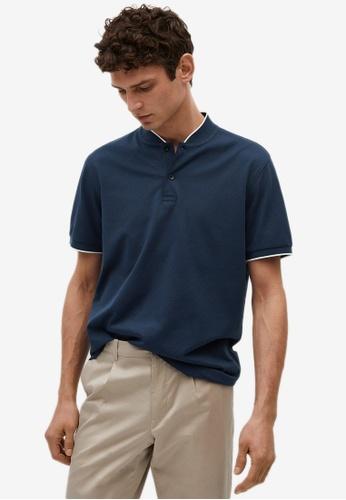 MANGO Man blue Mao Collar Cotton Polo Shirt 26051AA0EF0F54GS_1
